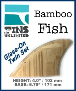 Glass On - Fins Unlimited - Bamboo Retro FISH