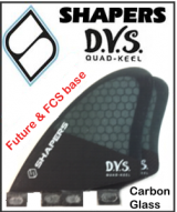 Shapers Carbon Flare DVS Keel Quad Fin Set